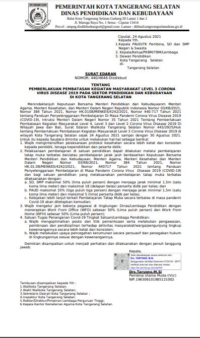 Surat Edaran Pemberlakuan Pembatasan Kegiatan Masyarakat level 3