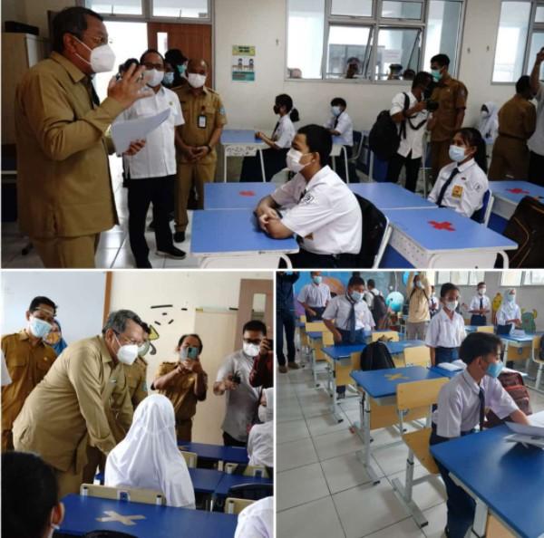 Walikota, Ketua DPRD & Kadis meninjau PTM hari pertama di SMPN